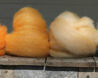CVM/Kid Mohair Roving - Mango and Cream Gradient