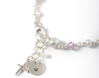 Girls Bracelet, Girls Jewelry, Gift for Girls, Little Girl Gift, Little Girl Jewelry, Initial Bracelet, Little Girls Initial Bracelet, Cross