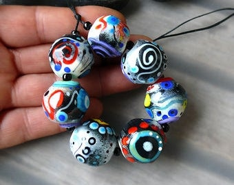 Funky Souls - 7 freestyle lampwork beads - Glass Art by Michou P. Anderson (Brand: Sonic & Yoko)