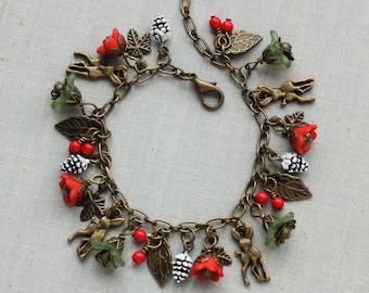 Christmas Charm Bracelet. Pinecones. Deer.