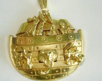 Noahs Ark 14k Gold Pendant 16.7 GM