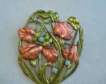 Flower Brooch  Rose Green