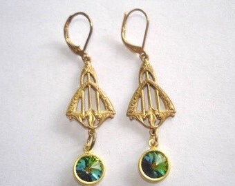 Peridot Green Crystal Gold Tone Dangle Earrings
