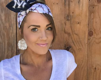 New York Yankees Dolly Bow Reversible Pinup Rockabilly Dolly Bow Twist Tie Up Baseball Headband Headscarf Hair Band Head Wrap Accessories