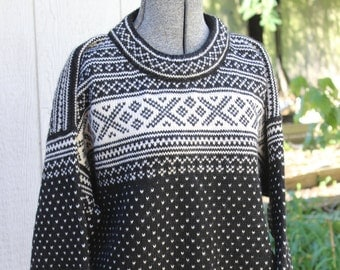 Dale of Norway Pullover Sweater S unisex Black and White VINTAGE by Plantdreaming