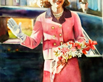 ART, watercolor portrait Jackie Kennedy (just before) art print from original painting, 1960's history art, First Lady Kennedy