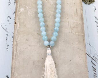 Ivory Tassel Necklace, Blue Beaded Necklace, Aquamarine Beaded Necklace, Cream Tassel, Boho Tassel Jewelry