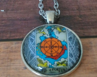Tarot Card Necklace -- Wheel of Fortune