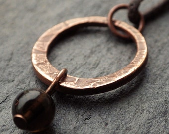 Copper Circle Necklace with Smoky Quartz