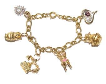 Vintage & Upcycled Avon Charm Bracelet / 1970s Charm Bracelet Avon Charms / Avon Owl Charm / Avon Telephone Charm