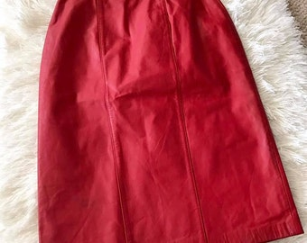 Vintage Red Leather Pencil Skirt -- 80's does 50's -- JD - Bad Girl!  Size S