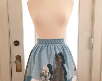 Vintage Blue Poodle Half Apron