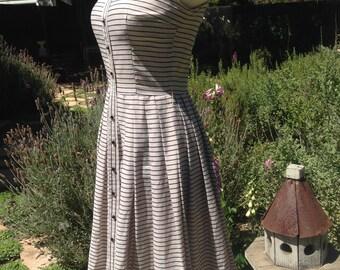 Vintage 50s Jonathan Logan Cotton Stripe Dress 34 bust 1950s