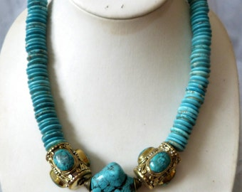 Opulent Tibetan  Necklace, turquoise necklace beads, OOAK, statement necklace
