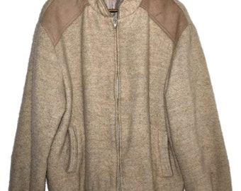 Vintage SAMBAND OF ICELAND 100% Pure Wool Icelandic Woolen Jacket with Suede Details Mens sz M L