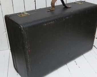 Vintage Suitcase, Black Luggage, Travel, Black Suitcase, Prop, Storage, Large Old Suitcase, Rustic, Weathered, Shabby Decor