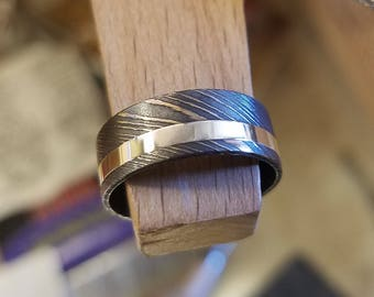 Damascus Ring with SilverInlay Damascus Steel Ring 7mm Wide - USA Made Custom Jewelry And Wedding Bands