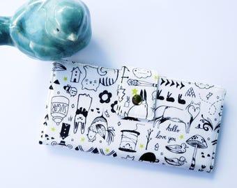 Cute Women's wallet, art teacher gift, art wallet, art teacher gift ideas, doodle womens wallet, teacher appreciation gift, cute wallet