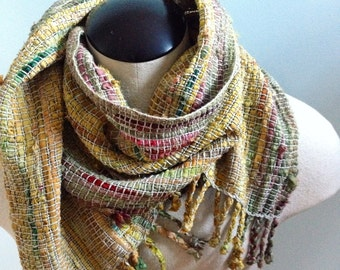 Handwoven Recycled Sari Silk & Cotton Scarf / Gold / Green / Boho / Artsy / Winter / Fall / Spring / Lightweight / Sustainable