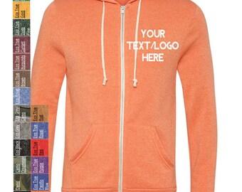Custom Made Alternative - Eco-Fleece Rocky Hooded Full-Zip Sweatshirt - 9590 Vinyl or Glitter Print  All Colors & Sizes