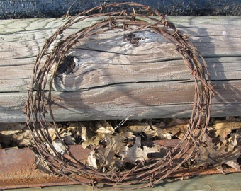 Barbed Wire Wreath Rusty Salvage Vintage Rustic Western Available in 13, 14, 15 or 18 Inch Diameter