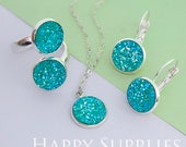 10pcs Frosted Aqua 12mm (FDC06) Crystal Faux Druzy Cabochons