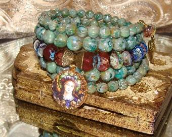 Stained glass art print angel charm Picasso beads wrap bracelet Pamelia Designs Sacred Jewelry