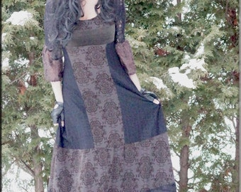 Dress - Steampunk - Burning Man - Patchwork Long Dress - Bohemian Gypsy - Floor Length - Maxi Dress - Designer Fashion - Size X- Small