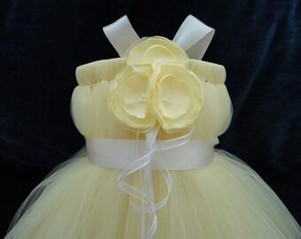 Butter Yellow and Ivory Flower Girl Dress, Little Girls, Toddler Girls, Baby Girls, Flowergirl Dress, Tutu Dress, Flower Sash