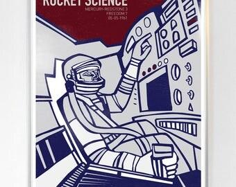 Mercury Redstone 3 Freedom 7 Capsule, Science Poster, Art Print NASA art, Stellar Science Series™