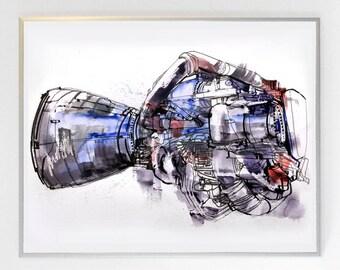 17 x 13 inch SSME - Space Shuttle Main Engine, Science Poster Art Print, Original Illustration - Stellar Science Series™