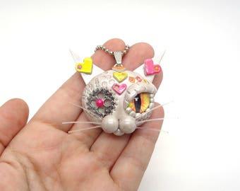 Victorian Necklace, Steampunk Animal, Cat Necklace, Clay Cat, Steampunk Cat, Steampunk Gift, Polymer Clay Cat, Victorian Jewelry, Steampunk