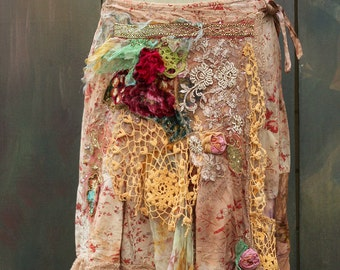 Bohemian girl skirt  - -romantic,  gypsy, hippy, shabby chic, layered, hand dyed, altered couture