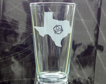State Silhouette d20 Pint Glass - Choose Your State - Roll 20 - Etched Pint Glass - Gamer Gift - DnD Gift - Etched Beer Glass - Critical Hit