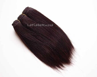 doll hair Wefted mohair straight dark brown wig waldorf hair custom Blythe wefted hair brushed mohair hair for dolls