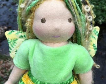 Waldorf Fairy Doll 10 inch Waldorf inspired Button-jointed Noble Fairy Doll Fern Fairy