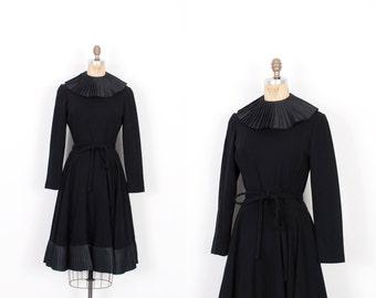 Vintage 1960s Dress / 60s Wool Dress with Pleated Silk Trim  / Black ( medium M )