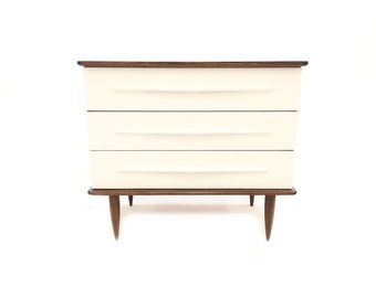 Vintage MCM Petite Dresser In Wood and White