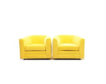 Vintage Mid Century Club Chairs In Yellow Velvet