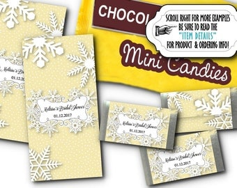 36 Mini Candy Wrappers, Candy Favor Labels, Winter Snowflakes, Wedding, Bridal Shower, Bay Shower, Birthday Party, Silver or Gold