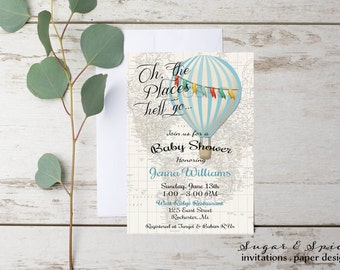 Hot Air Balloon Invitation, Rustic Baby Shower Invitation, Baby Shower  Invitation Boy Printable,