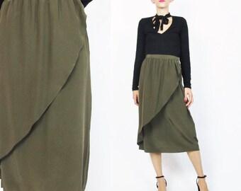 80s 90s Silk Wrap Skirt Vintage Brown Olive Green Silk Skirt 1980s Tulip Skirt High Waist Skirt Midi Knee Length Minimal Silk Skirt (M/L)