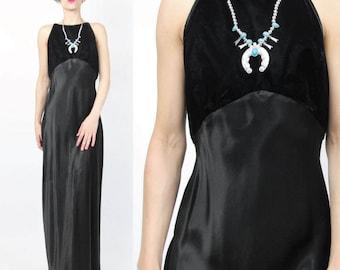 1990s Black Velvet Evening Dress Open Cut Out Lace Up Back Dress Black Satin Maxi Dress Bias Cut Sleeveless Formal Evening Gown (L) E727