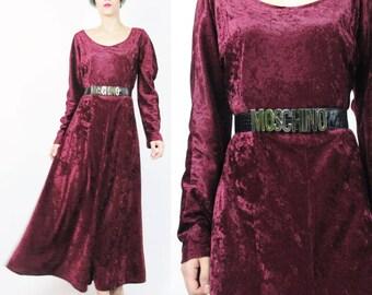 1990s Vintage Crushed Velvet Maxi Dress Red Velvet Dress Velvet Long Sleeve Dress Party Goth Witchy Flared Maxi Long Velvet Dress (L) E651