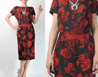 1950s Wiggle Dress Vintage 50s Dress Black Red Floral Rose Print Dress Short Sleeve Fitted Dress Cocktail Party Evening Dress Midi (M) E6006