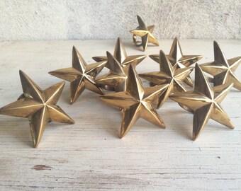 Set of ten solid brass star napkin rings, holiday decor, golden star Christmas table setting, vintage brass napkin rings, star decor