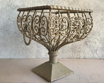 Vintage chippy metal pedestal basket planter, wire basket handles, vintage planter French Country, rustic decor French Provencial jardiniere