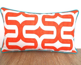 Orange pillow cover 20x12, geometric cushion modern living, orange and teal lumbar pillow, ikat cushion piping Christmas gift for her