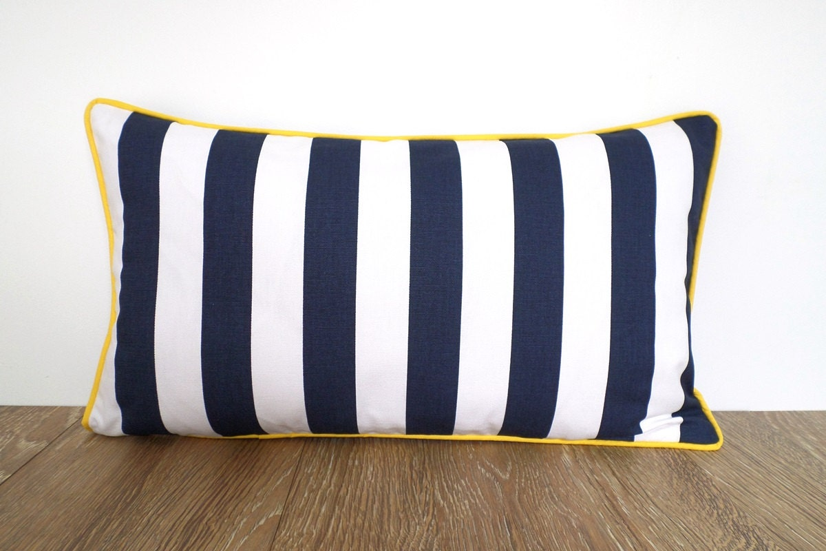 Blue Striped Throw Pillow Cover : Blue and white throw pillow cover 21x12 blue striped cushion