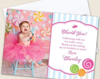 Lollipop Photo Thank You Cards - Professionally printed *or* DIY printable